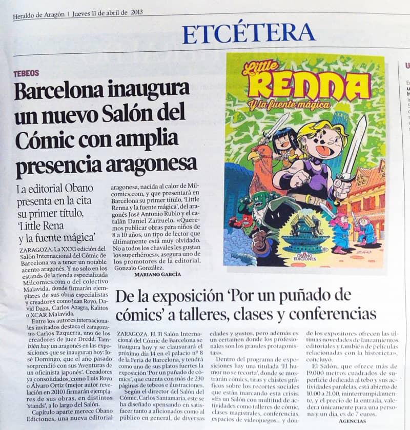 Little Renna en el Heraldo de Aragón